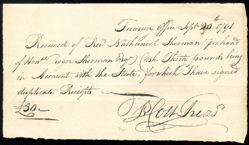 1791 Cash Receipt to Roger Sherman from Connecticut Treasurer – Cash Received Receipt