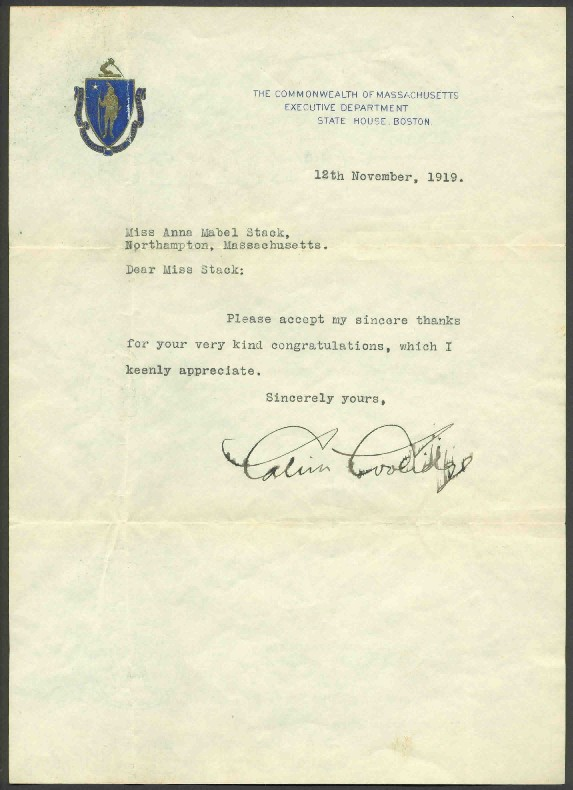 Calvin coolidge 1919 post election signed letter in this letter governor calvin coolidge acknowledges congratulation on his reelection as governor from a supporter from his hometown of northampton thecheapjerseys