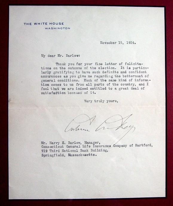 Calvin Coolidge Framed White House Letter