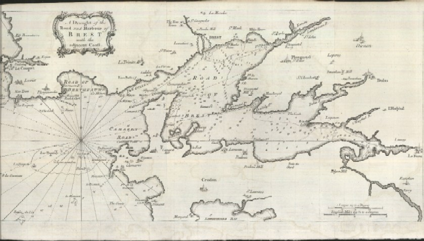 1757 A Map of The Draught and Road and Harbour of Brest