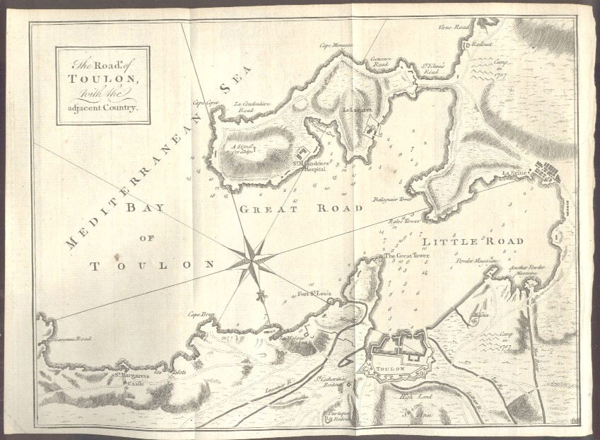 1759 Map The Roads of Toulon with the Adjacent Country