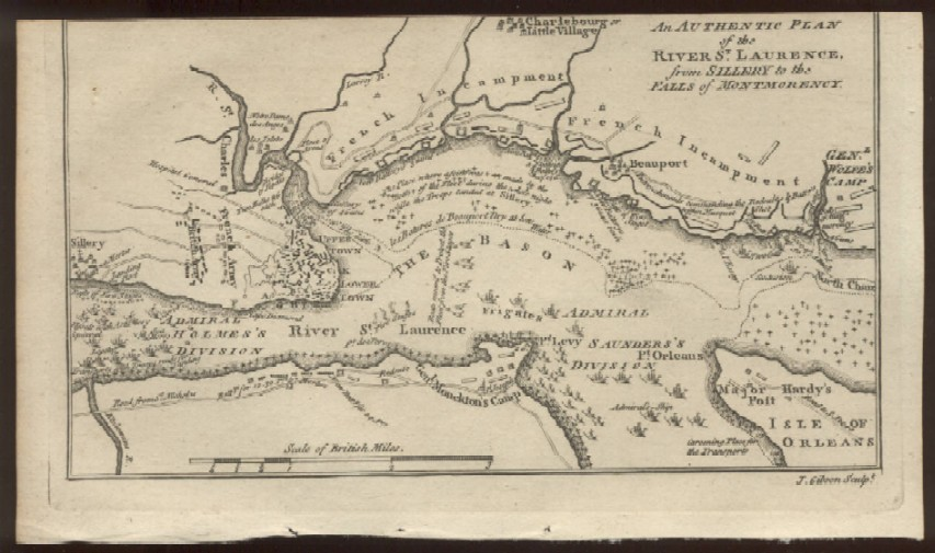 1759 Map Of The Battle Of Quebec And St Laurence River