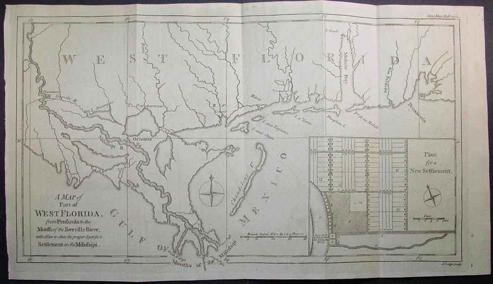 1772 Map of Part of West Florida, Alabama, Mississippi & Louisiana