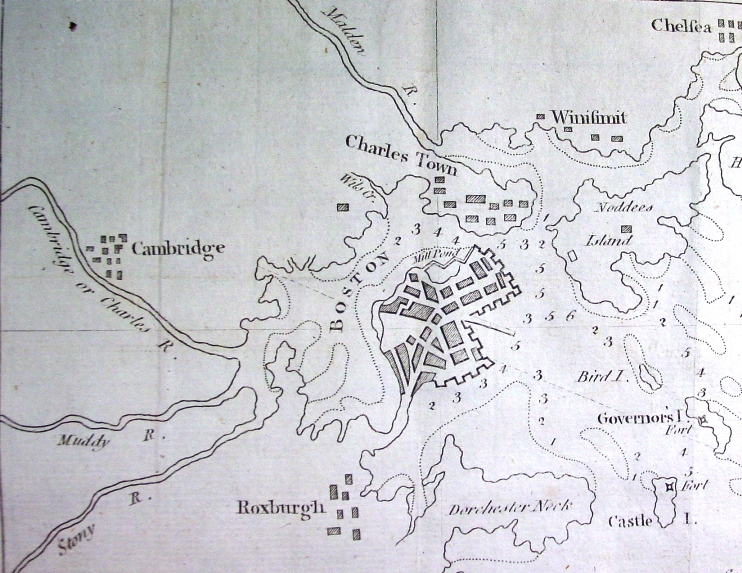 1775 Map of Boston and its Surrounding Area and Harbor