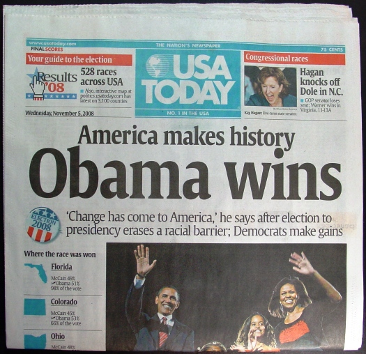 Barack Obama Election USA Today Newspaper - Top newspapers in usa