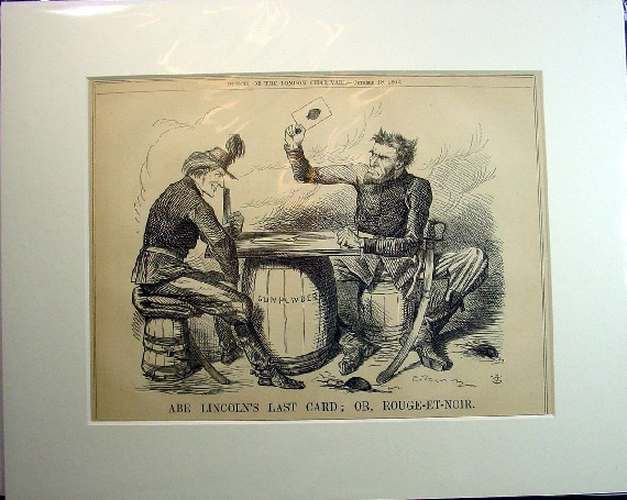 1862 John Tenniel Caricature Abe Lincoln S Last Card Or Rouge Et
