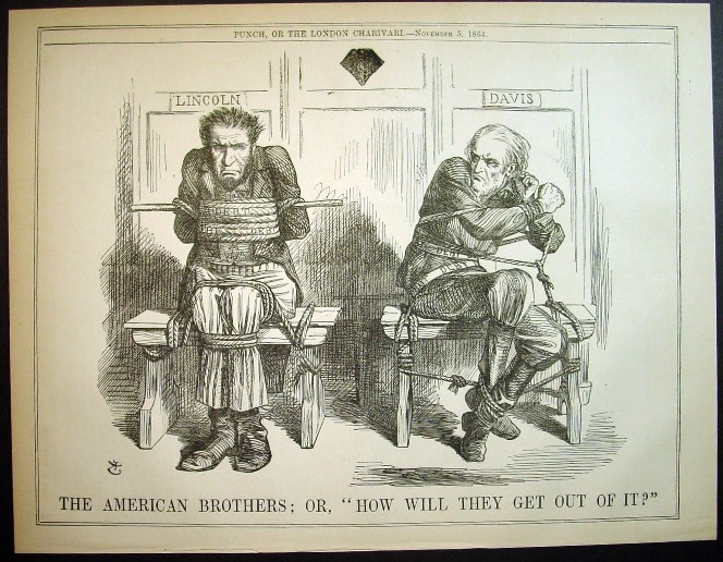 1864 John Tenniel Caricature Of Abraham Lincoln And Jefferson Davis