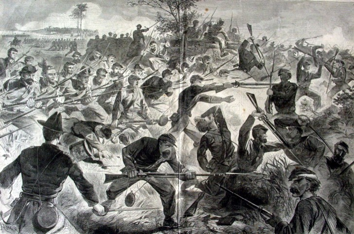 WINSLOW HOMER 1862 ENGRAVING CIVIL WAR FOR THE UNION BAYONET CHARGE SOLDIERS